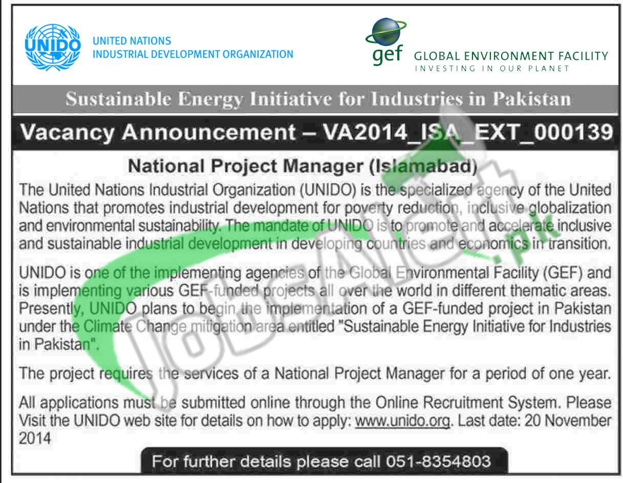 UNIDO Pakistan Jobs 2014 for National Project Manager