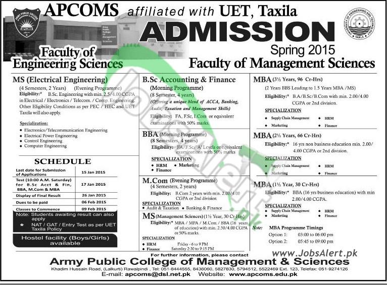 Army Public College of Management & Sciences (APCOMS)