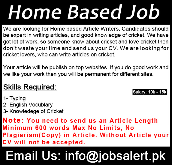 online article writing jobs in pakistan Job ads freelance article writer in pakistan, jobs available in pakistan for freelance article writer, make your job search easy with joboolo.