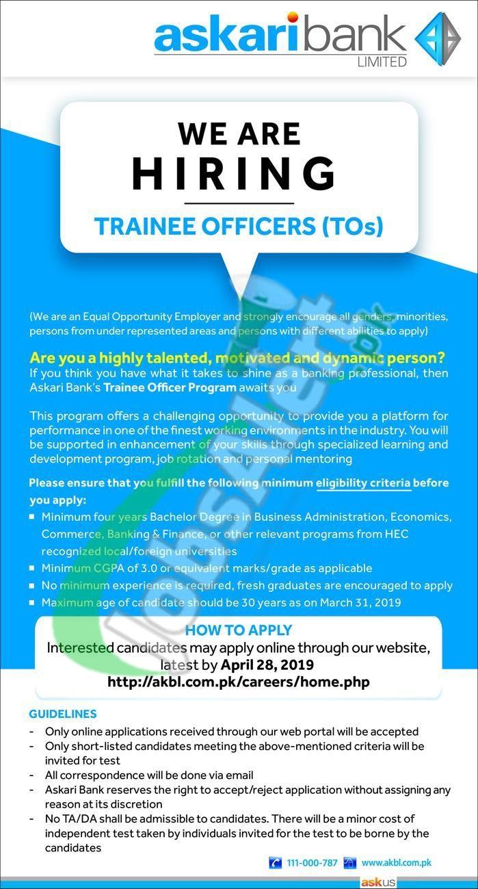 Askari Bank Trainee Officer 2019