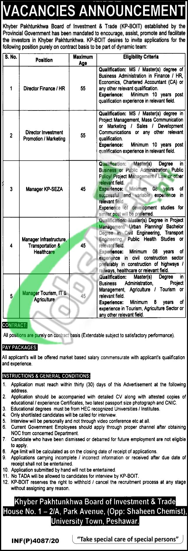 Khyber Pakhtunkhwa Board of Investment & Trade 2020