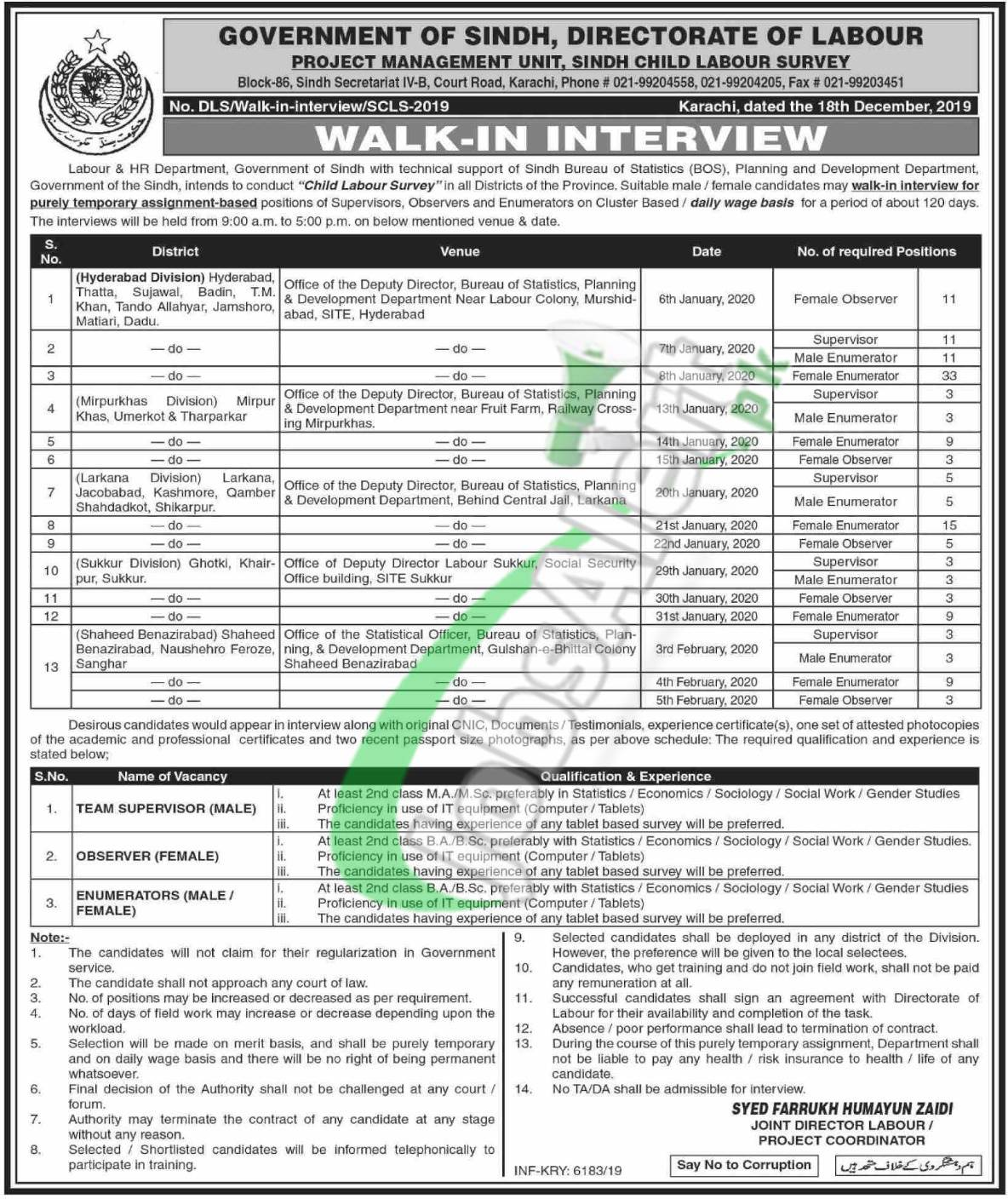 Labour & HG Department Sindh Jobs 2020