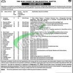 High Court of Balochistan Quetta Jobs