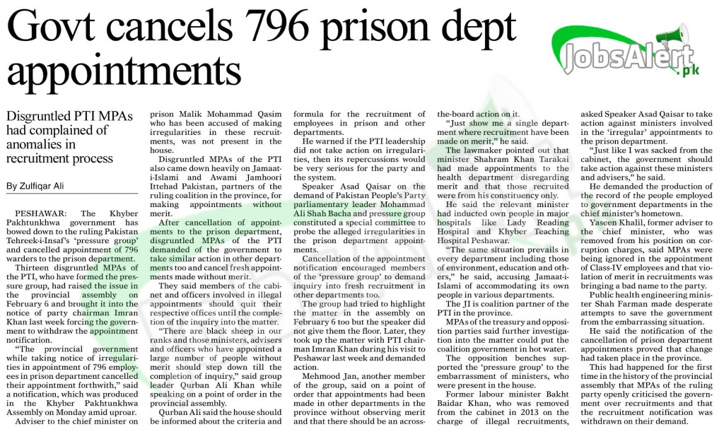 KPK Govt has cancelled 796 jobs appointments