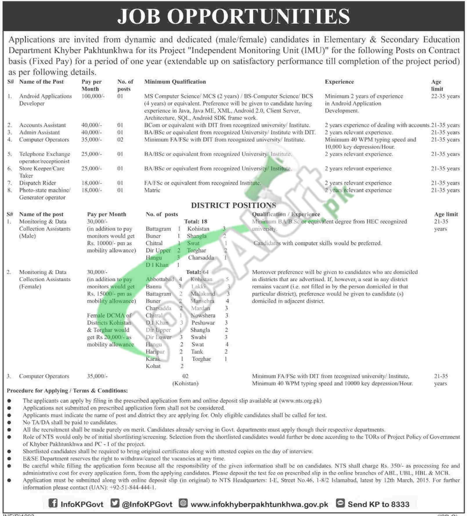 Jobs in Elementary & Secondary Education KPK