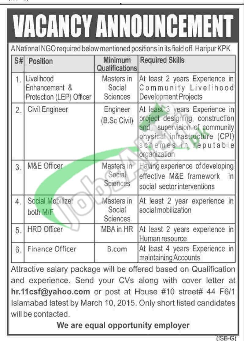 Jobs in National NGO Pakistan