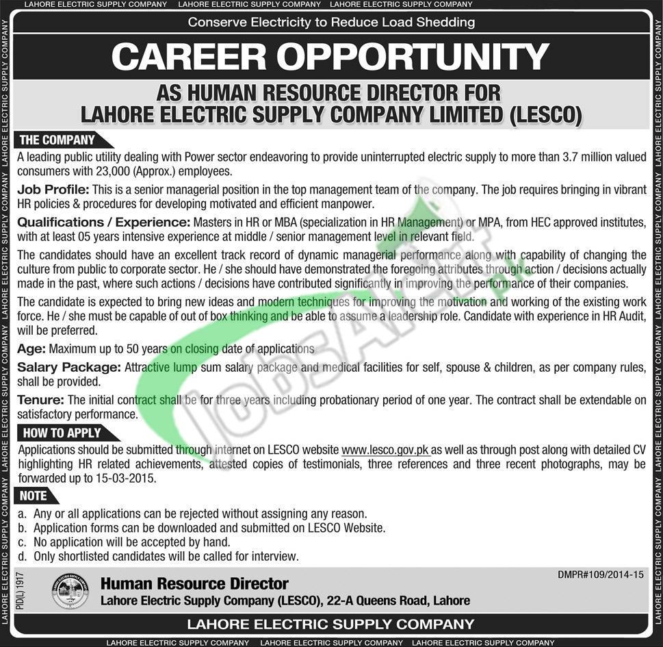 LESCO Wapda Jobs
