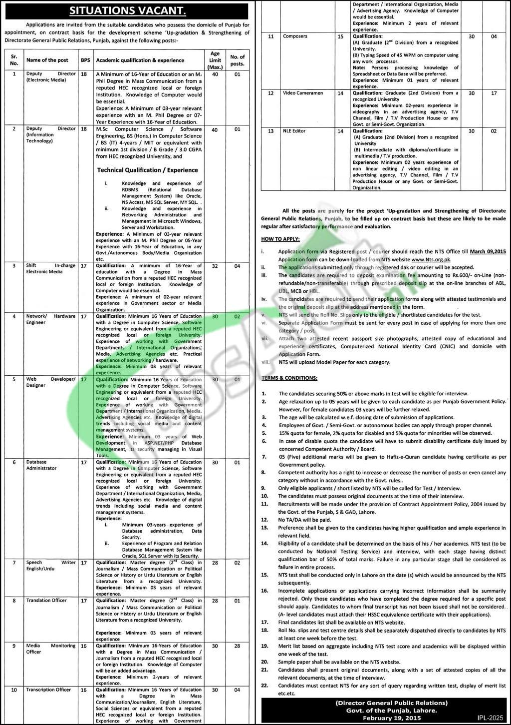 Directorate General Public Relations Punjab Jobs