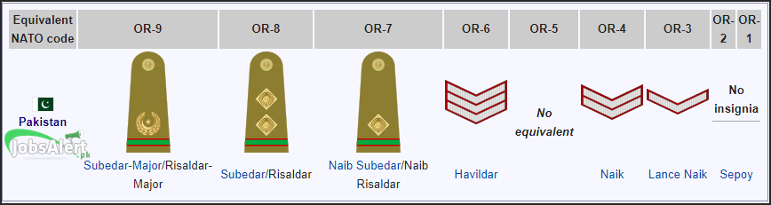 Pakistan Army Ranks and Badges, Salary / Pay Scale