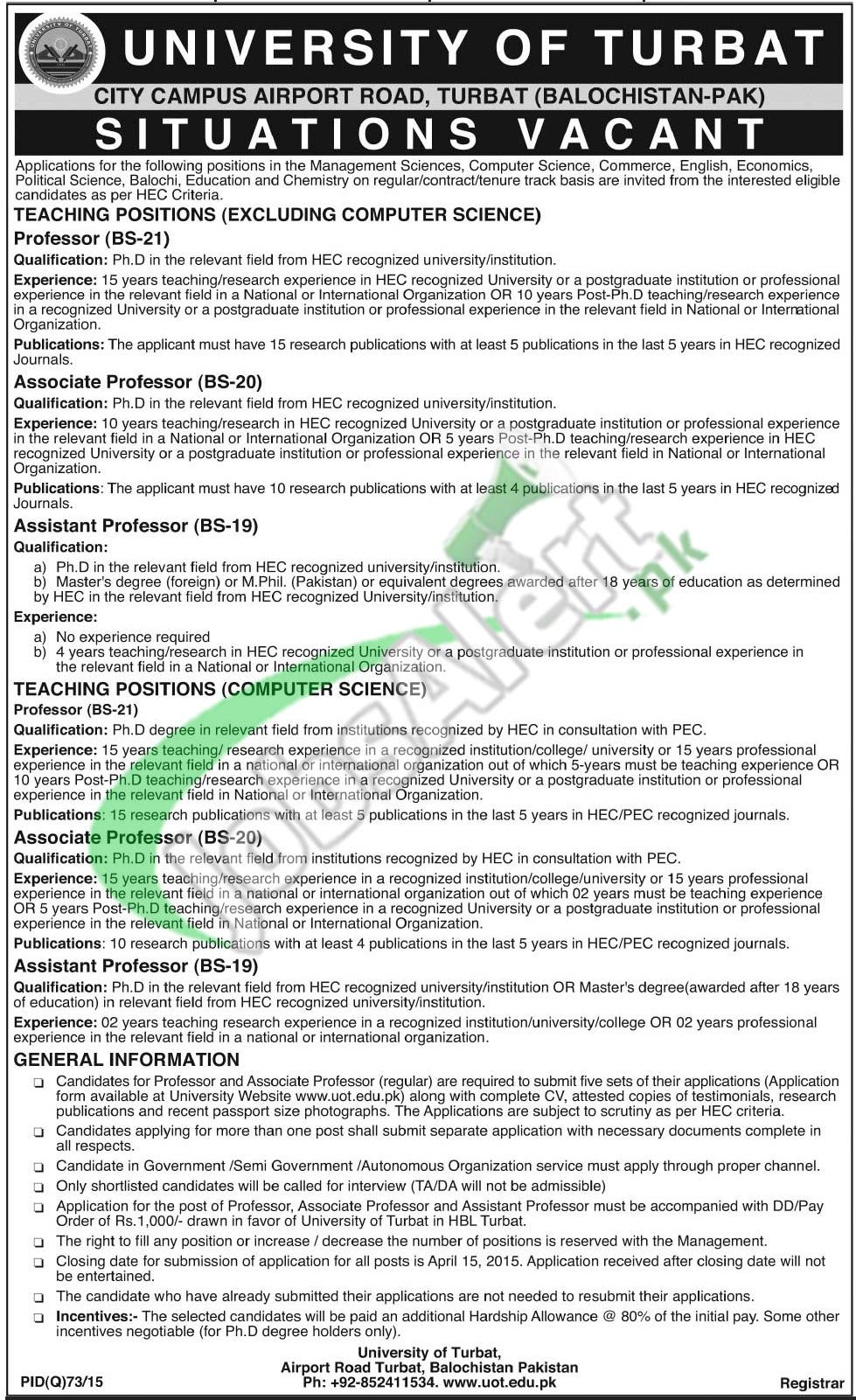Jobs in University of Turbat
