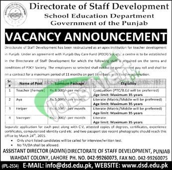 School Education Department Punjab Lahore Jobs