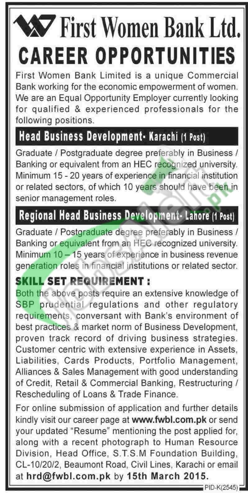 First Women's Bank Pakistan Jobs
