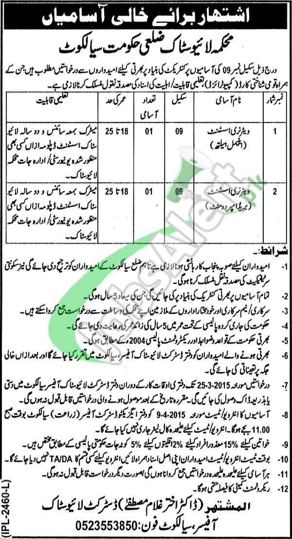 Livestock Department Punjab Sialkot Jobs
