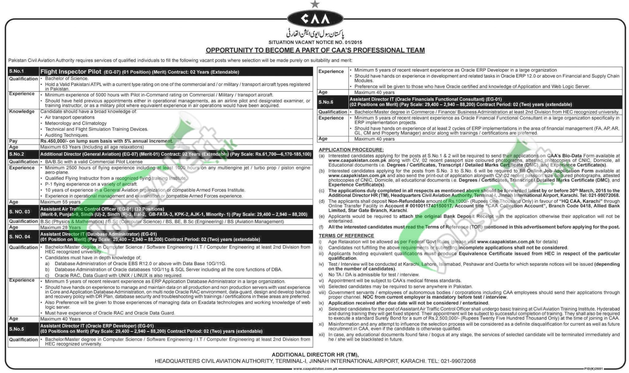 Pakistan Civil Aviation Authority Jobs 2015