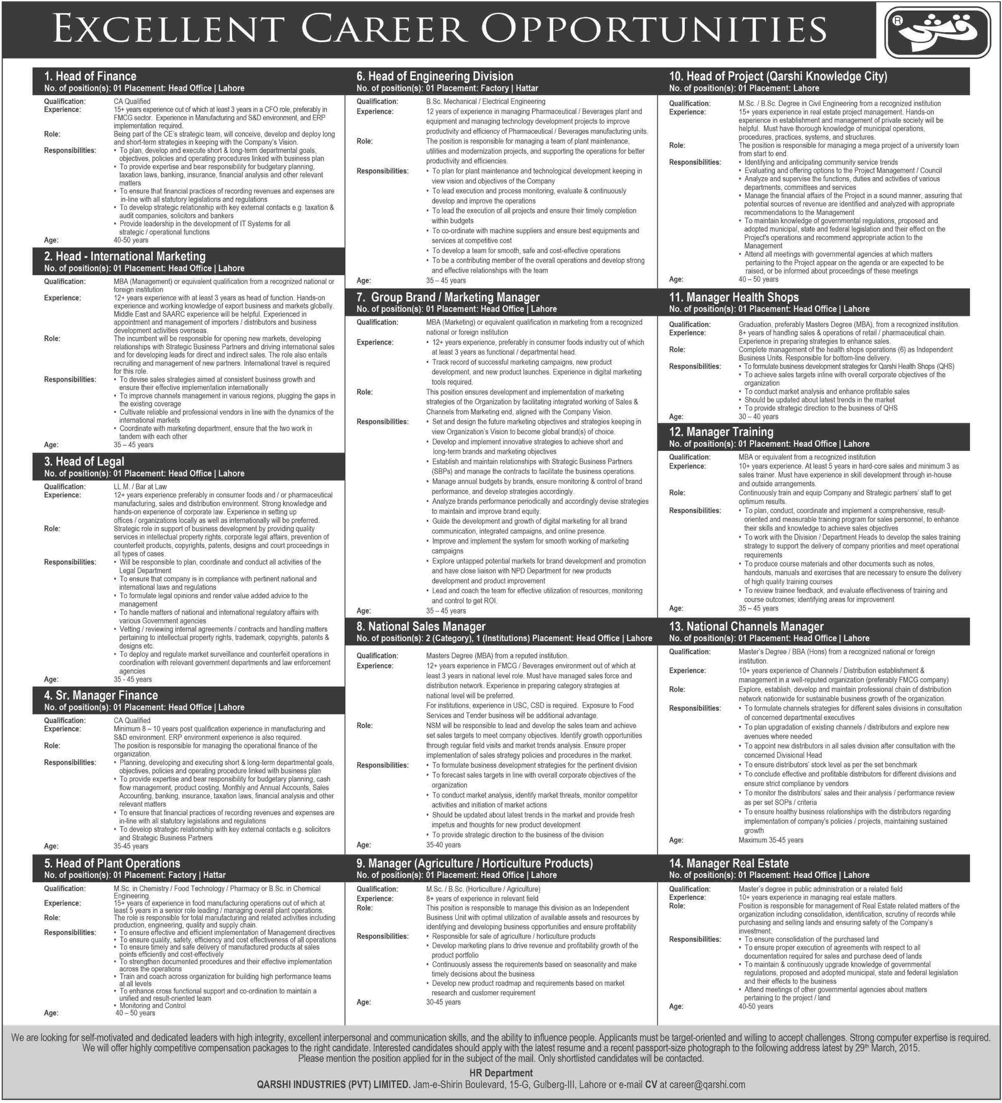 Qarshi Industries (PVT) Limited Jobs