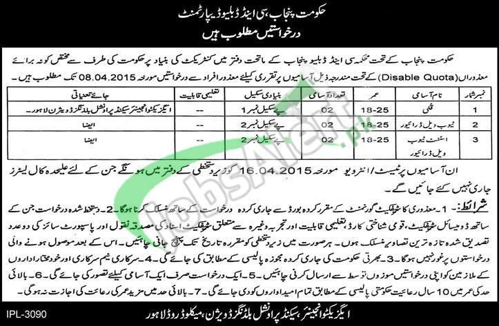 C & W Department Lahore Jobs