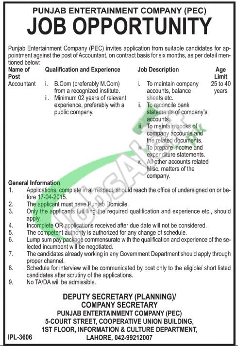 Punjab Entertainment Company Lahore Jobs