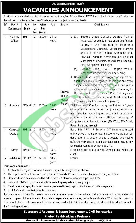 Revenue & Estate Department Jobs