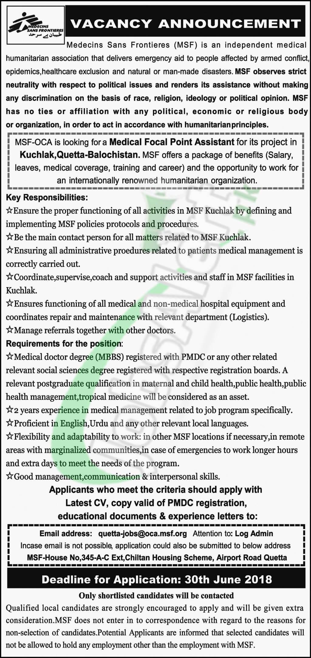 MSF Jobs in Quetta