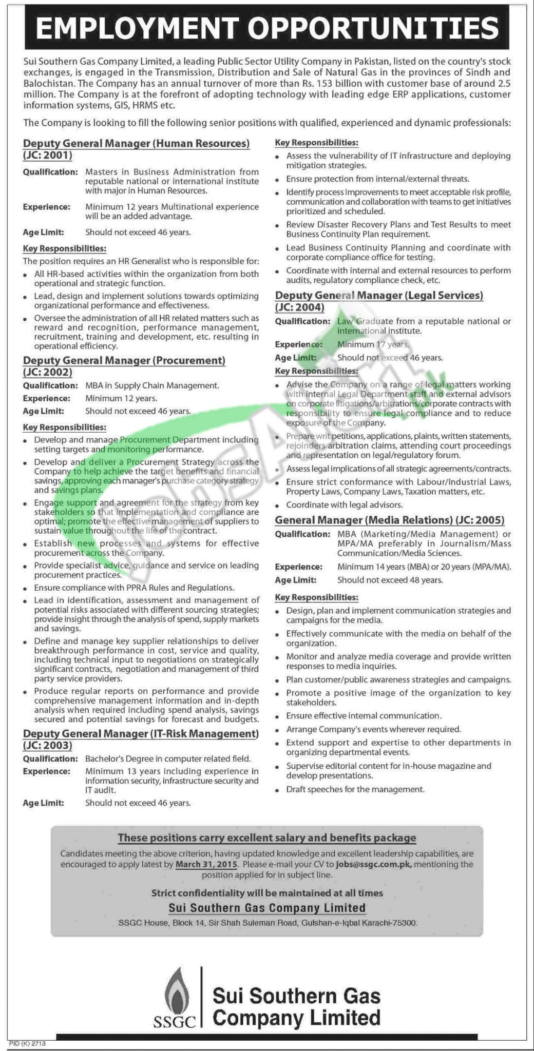 Jobs in Sui Southern Gas Company Karachi