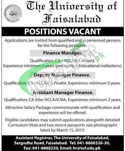 The University of Faisalabad Jobs