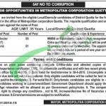 Metropolitan Corporation Quetta Jobs