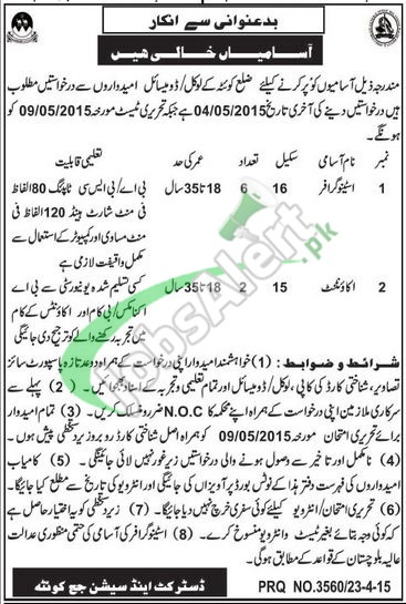 District and Session Court Quetta Jobs