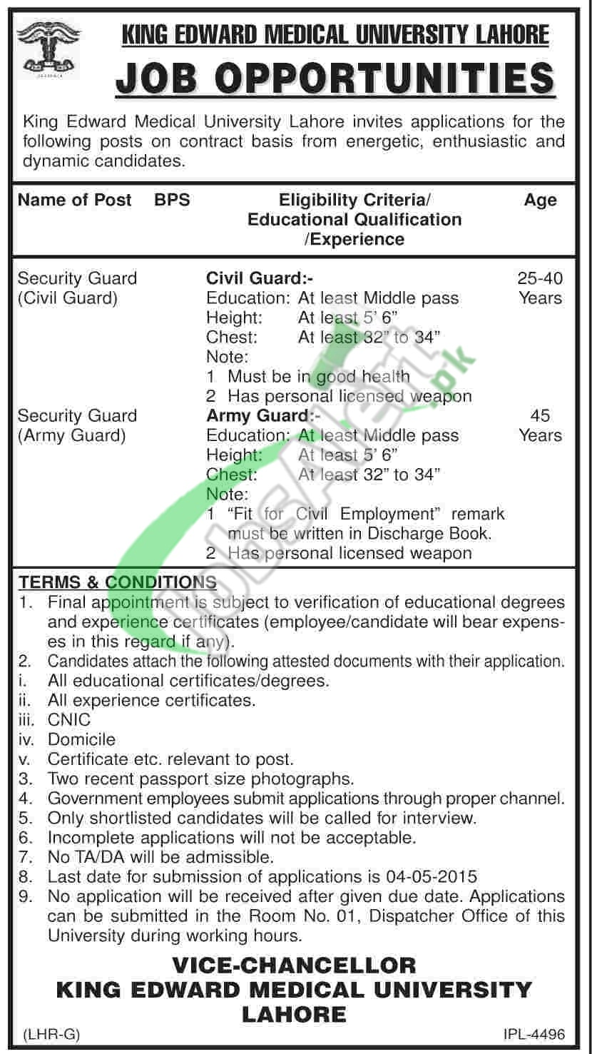 Jobs in King Edward Medical University Lahore