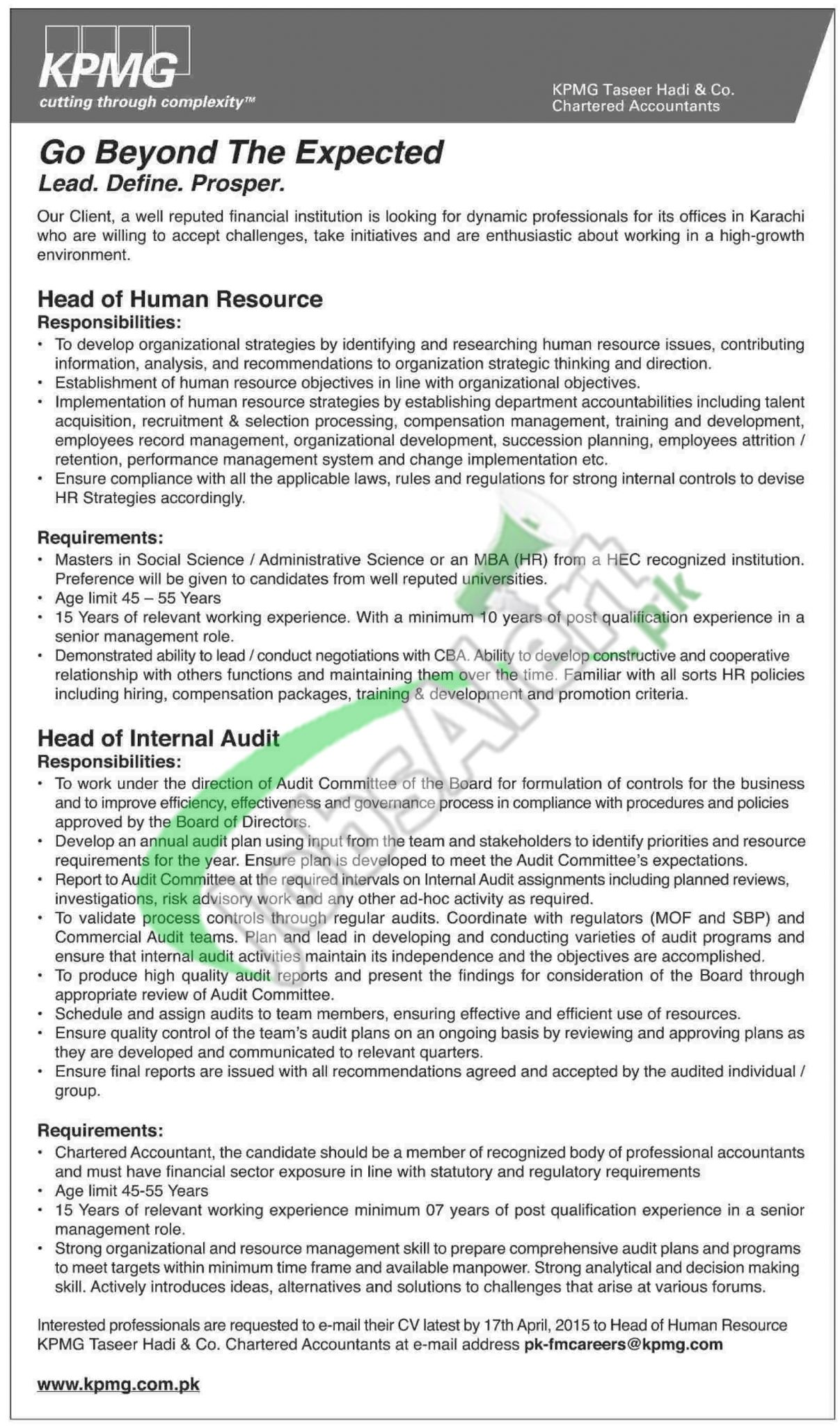 KPMG Karachi Jobs