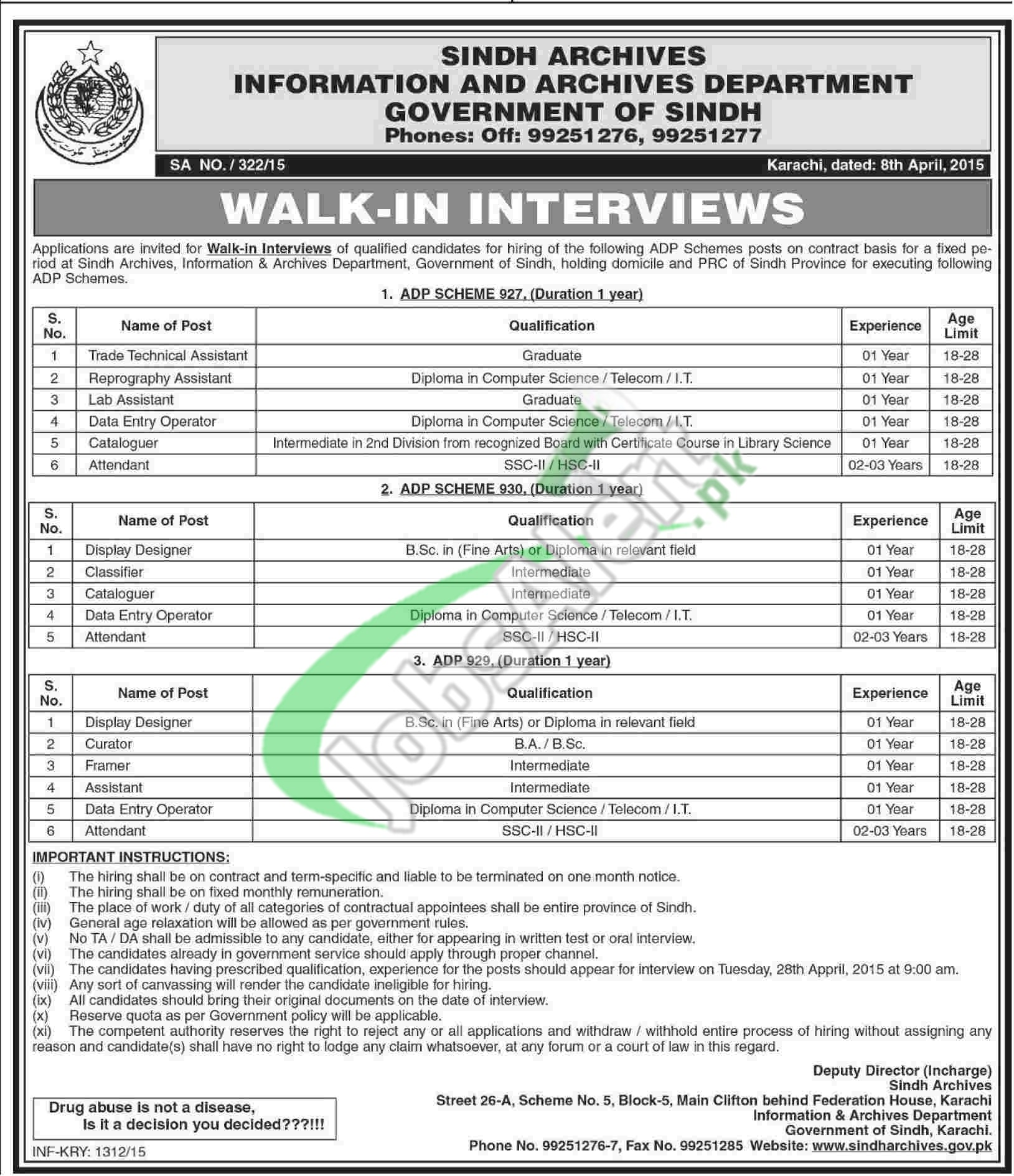 Information & Archives Department Sindh Karachi Jobs