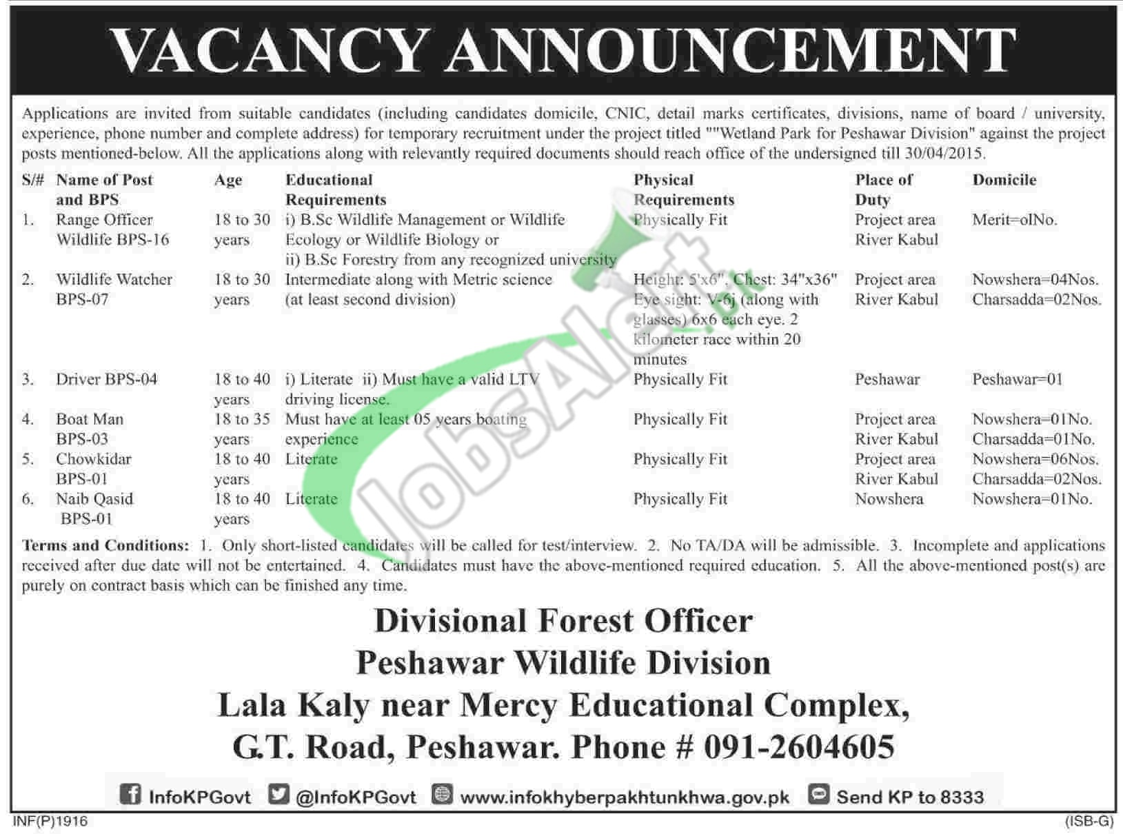 Wildlife Department KPK Jobs