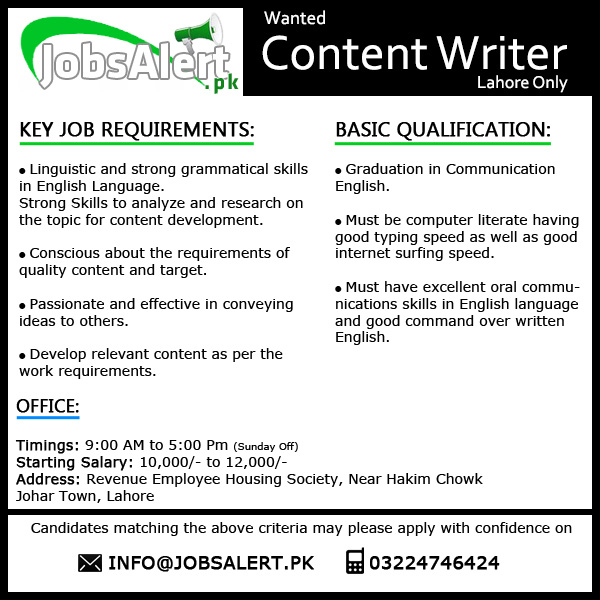 content writing jobs in pakistan
