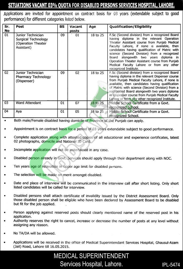 Jobs in Services Hospital Lahore