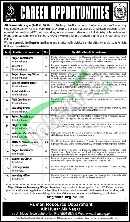 Govt of Pakistan Aik Hunar Aik Nagar AHAN Jobs