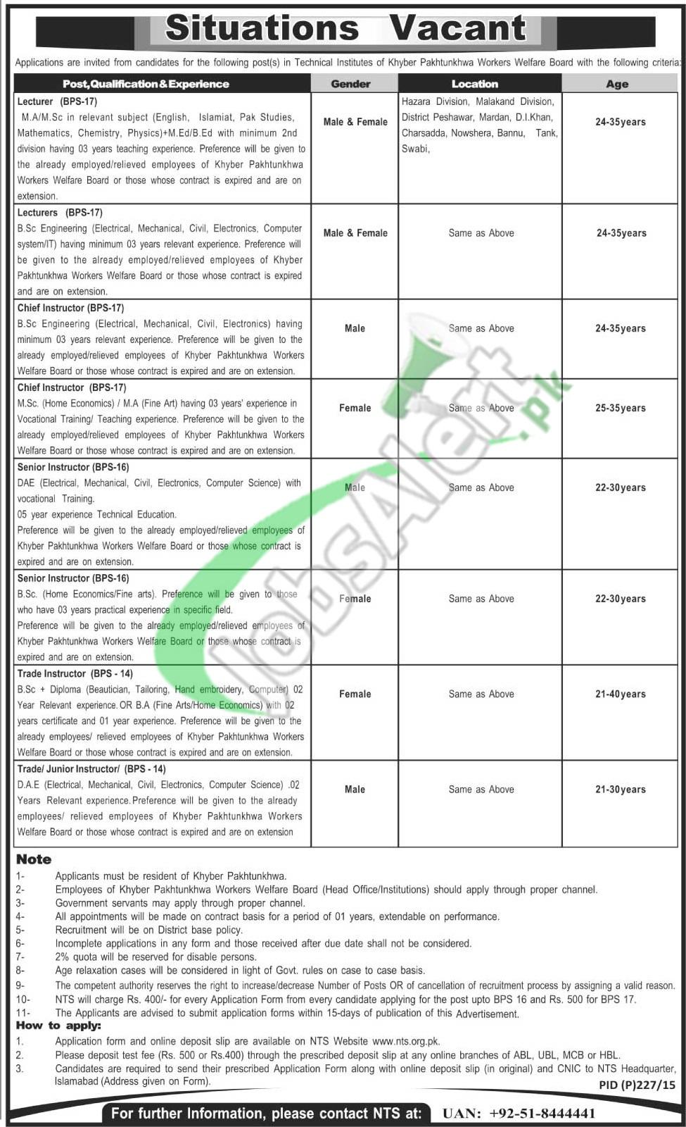Worker Welfare Board KPK Jobs
