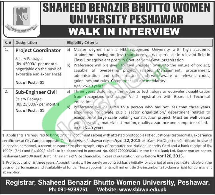 Jobs in Shaheed Benazir Bhutto University Peshawar