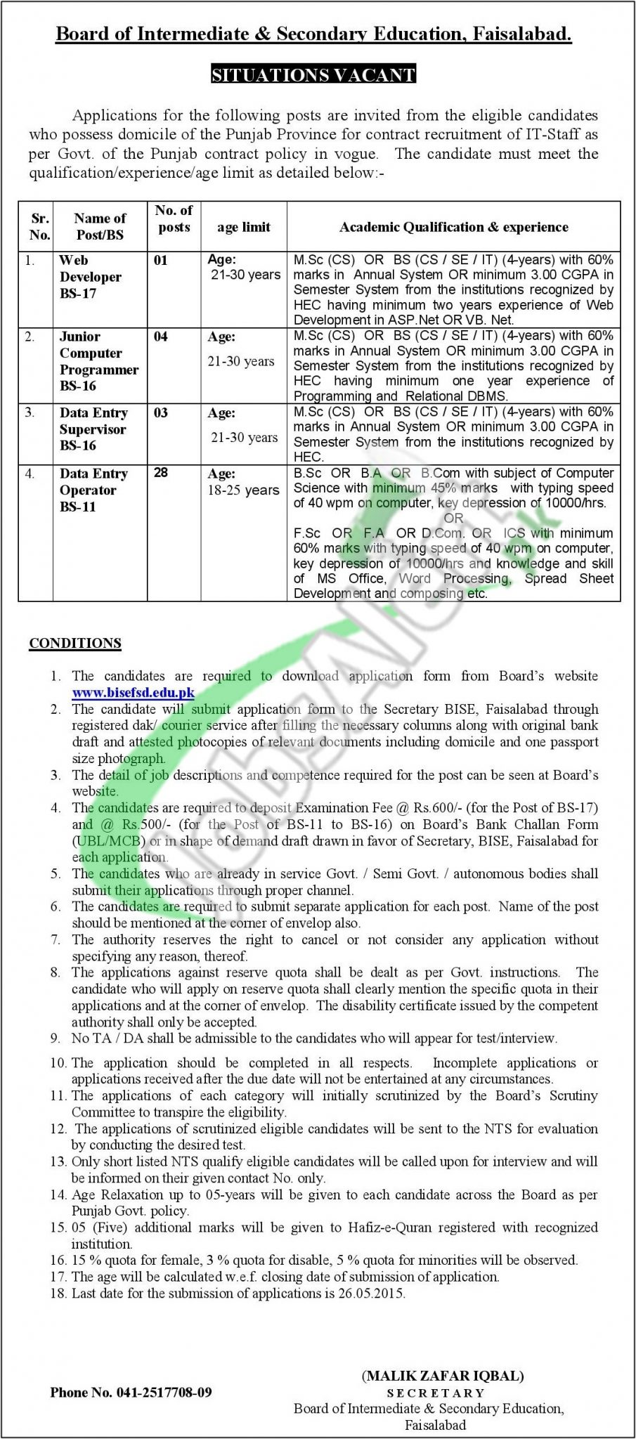 BISE Faisalabad Jobs