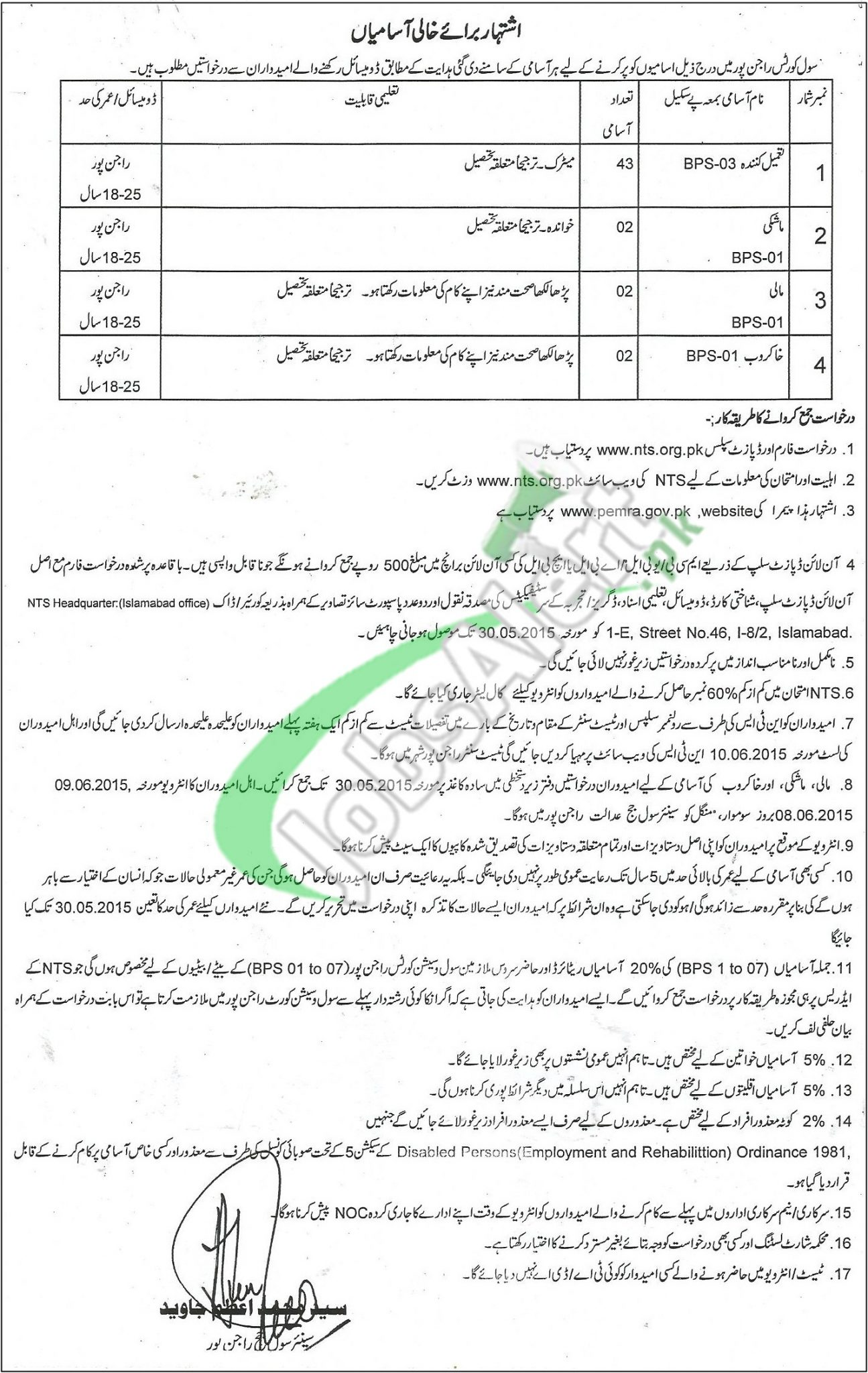 Civil Courts Rajanpur Jobs