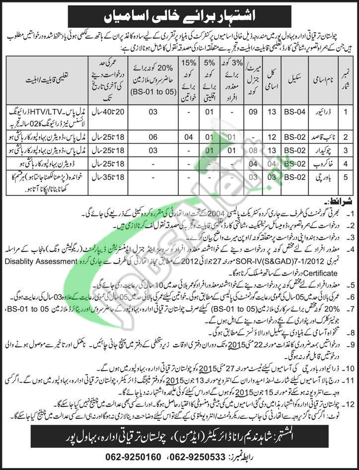 Jobs in Cholistan Development Authority Bahawalpur