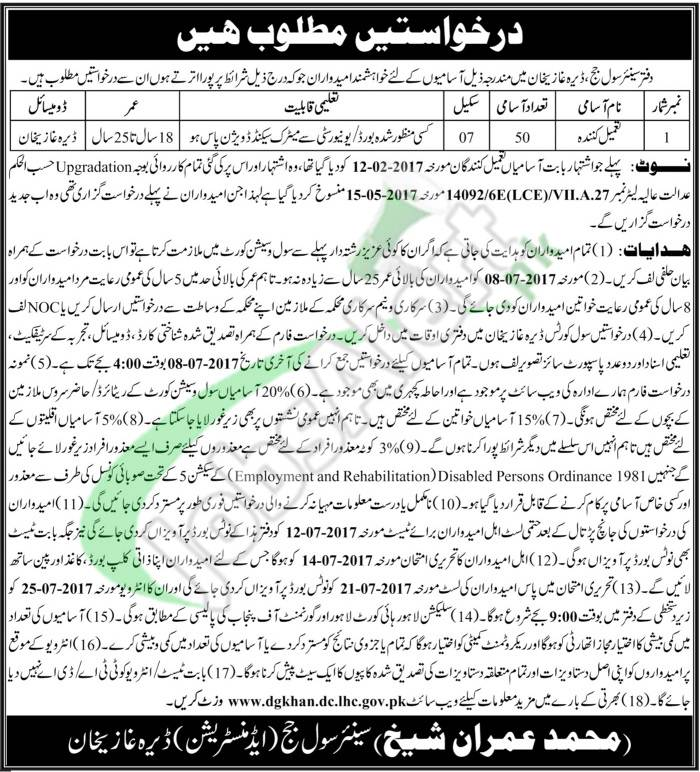 Civil Court DG Khan Jobs