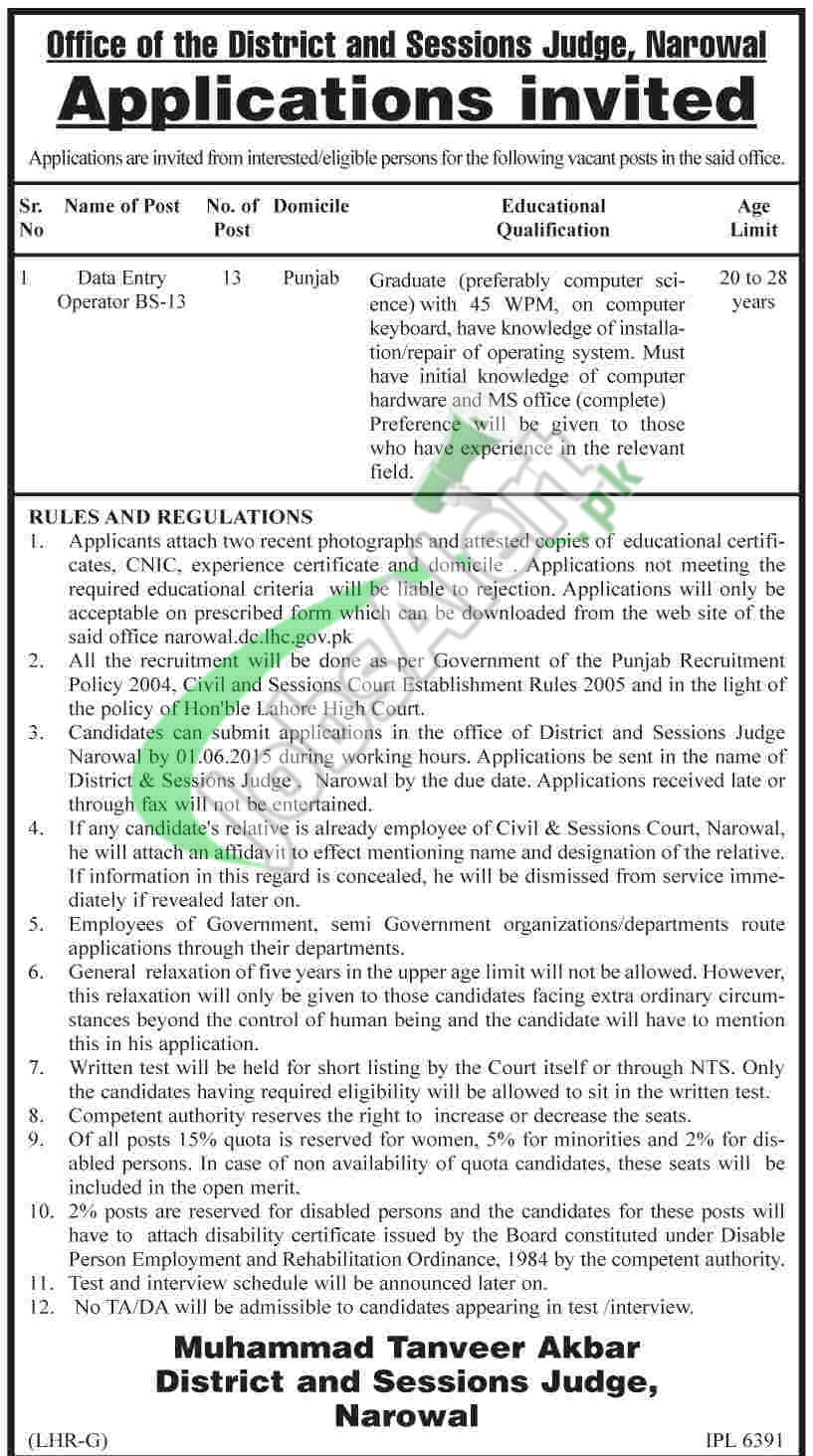 District & Session Court Narowal Jobs