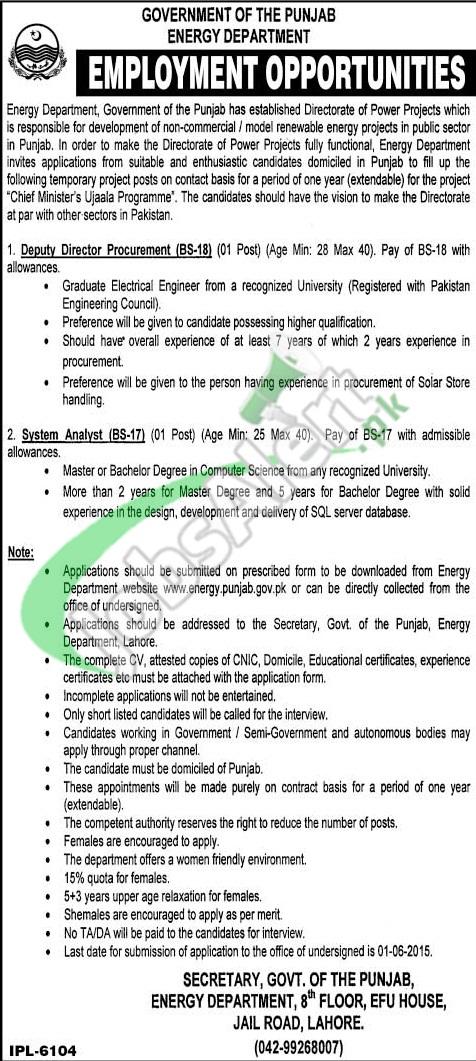 Jobs in Energy Department Punjab
