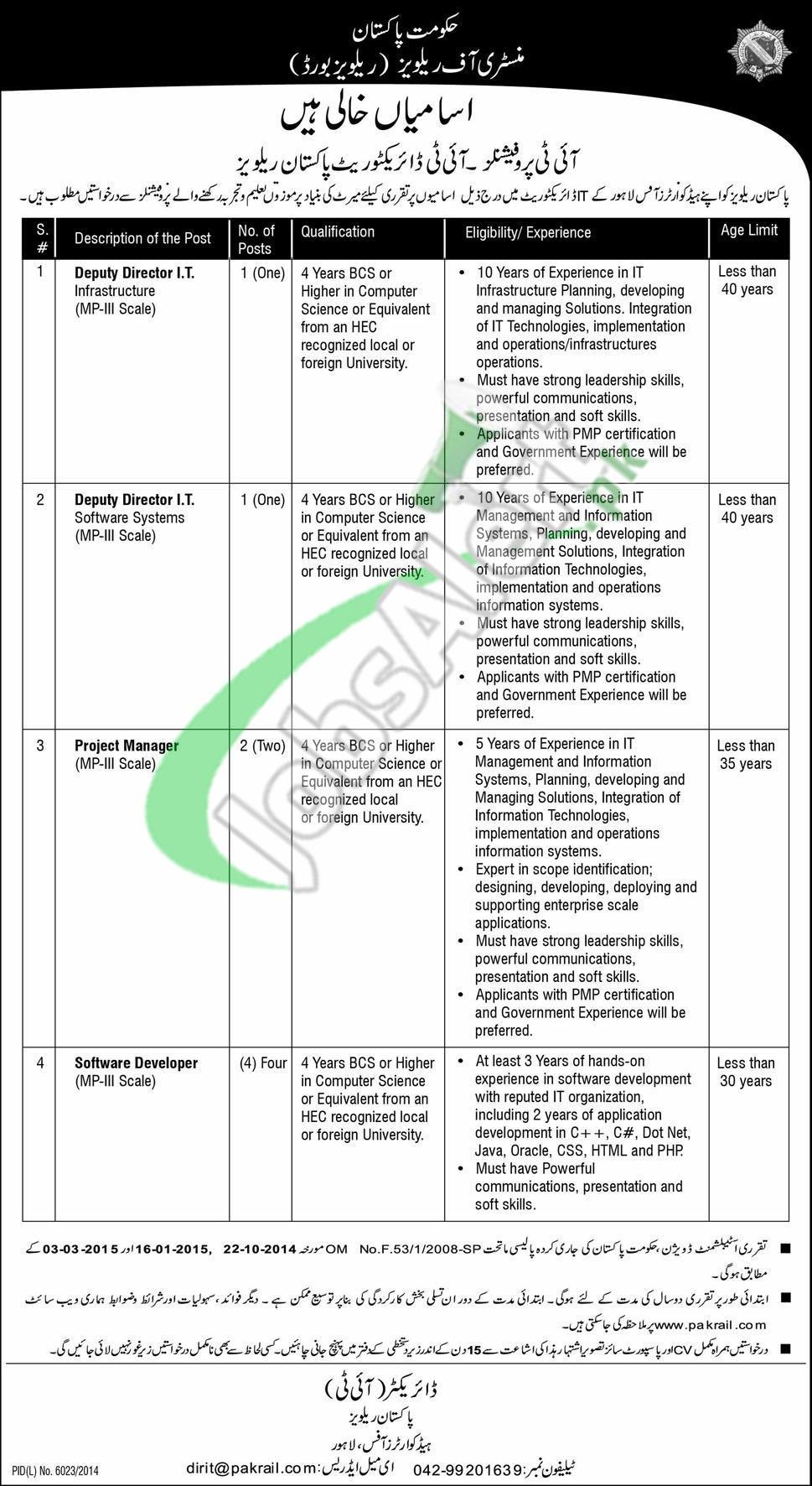 Jobs in Pakistan Railways Lahore 2015