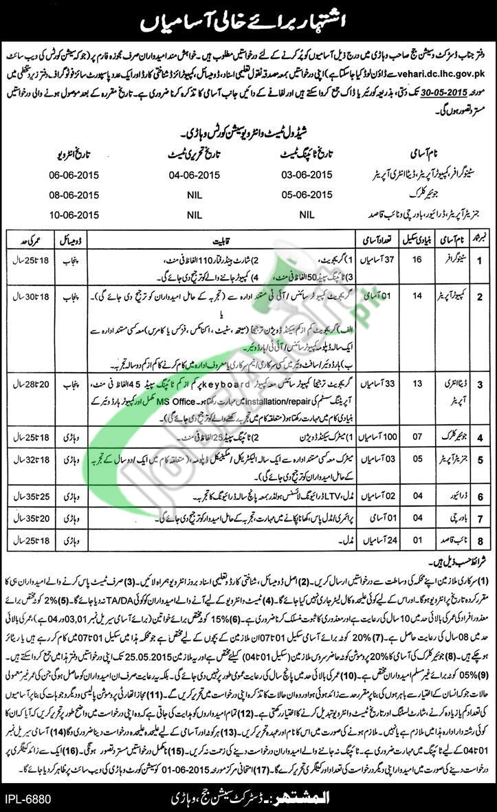 Jobs in District & Session Court Vehari