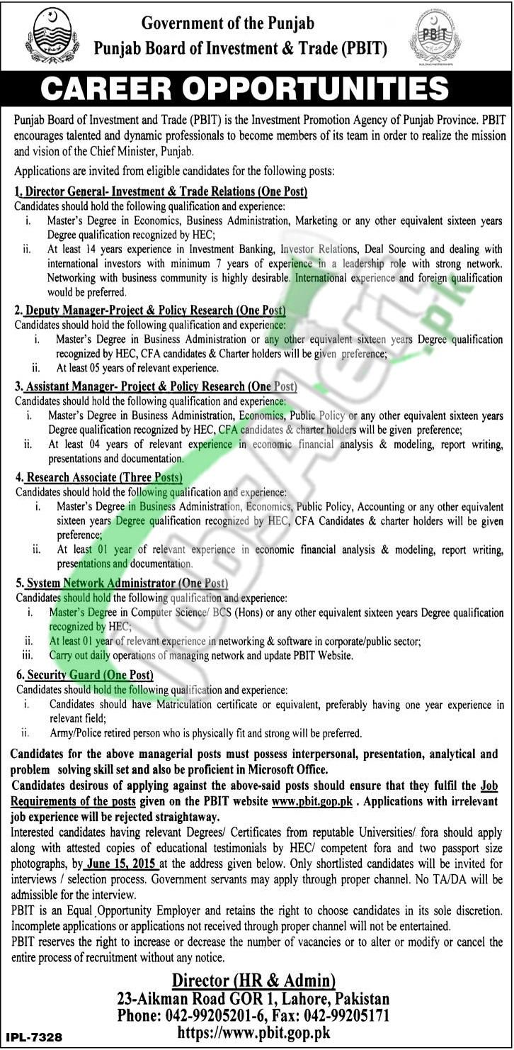 Jobs in PBIT Lahore