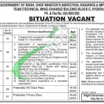 Jobs in Chief Minister Inspection Team Sindh