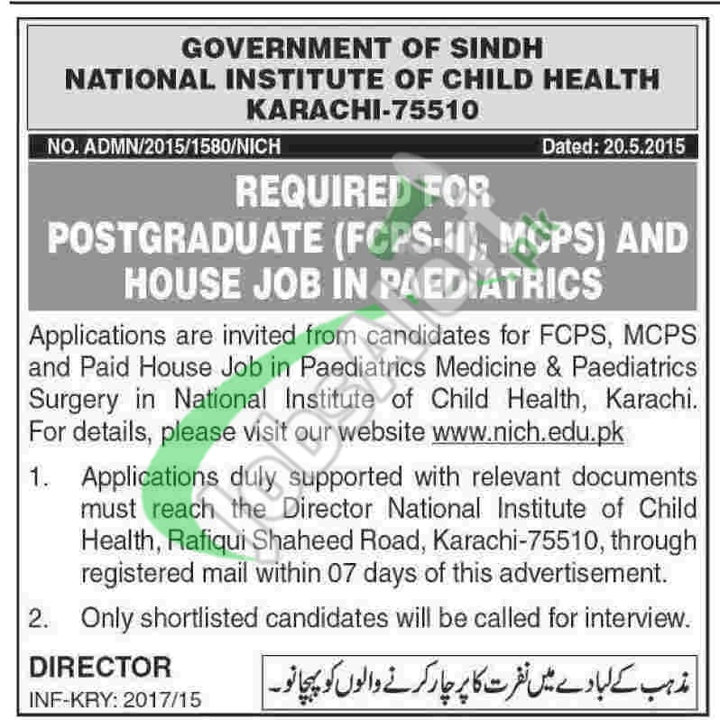National Institute of Child Health Karachi Jobs