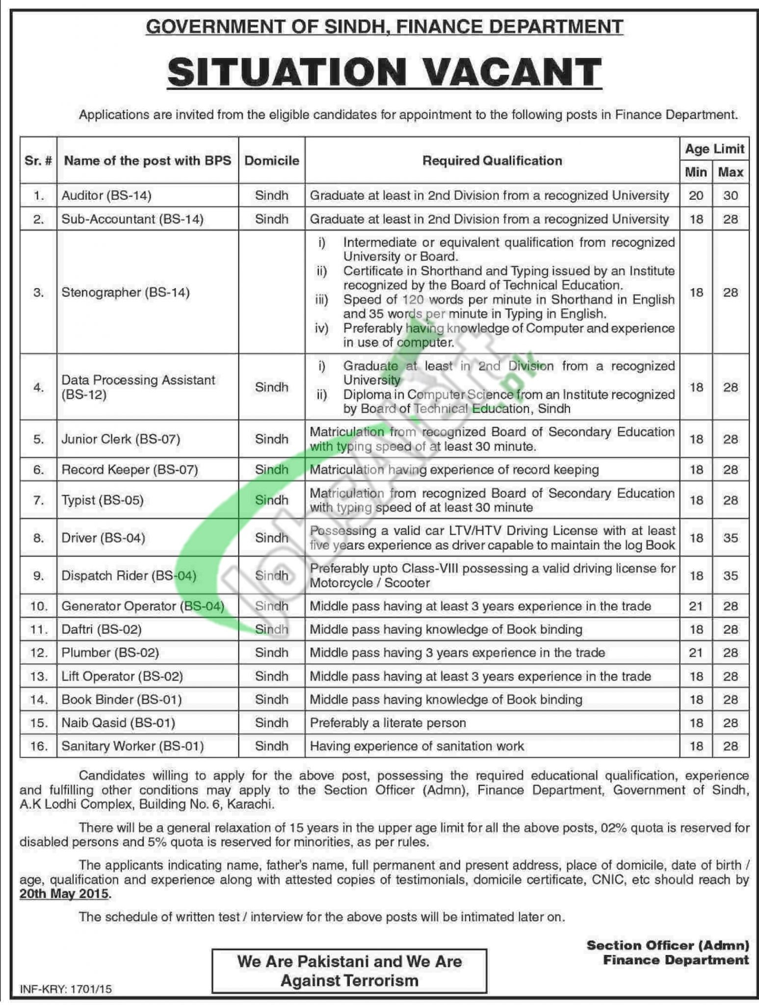Jobs in Finance Department Sindh