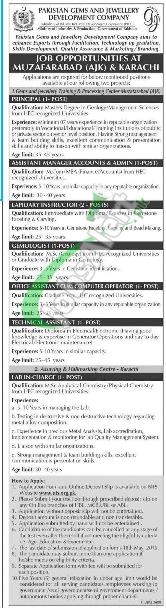 Pakistan Gems & Jewellery Development Company Jobs