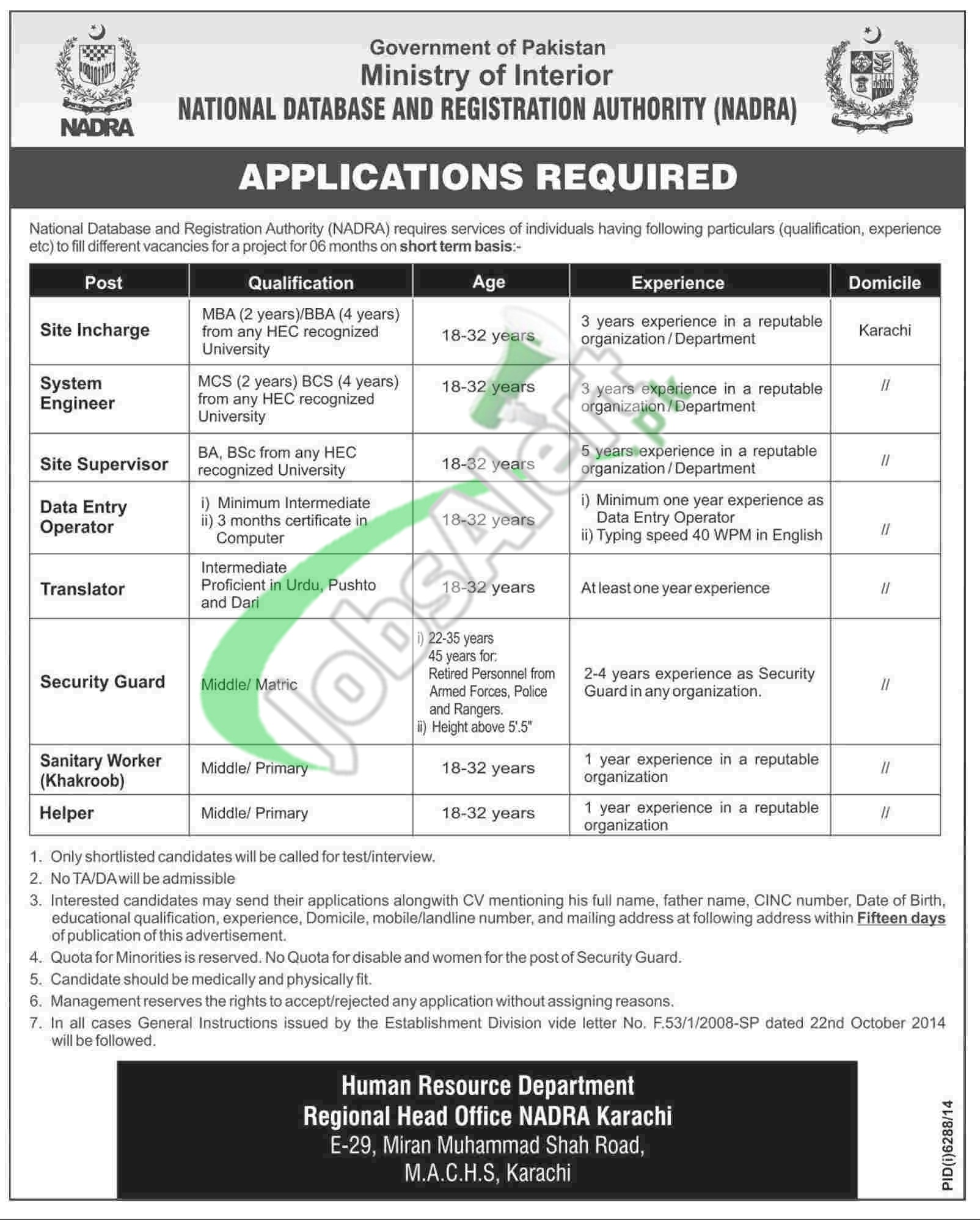 Jobs in NADRA
